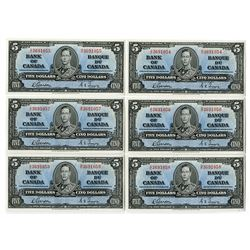Bank of Canada, 1937 Issue Banknote Group of 6 Consecutive High Grade Notes.