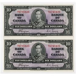 Bank of Canada, 1937 Issue Banknote Pair of 2 Consecutive High Grade Notes.