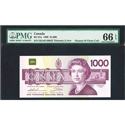 Bank of Canada, 1988, $1000, BC-61a, issued, Queen Elizabeth on right, Thiessen | Crow signatures,