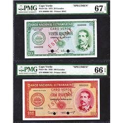 Banco Nacional Ultramarino Cabo Verde. 1958, 1972 Issues.