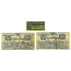 Banco Nacional & Republica de Colombia Correos Nacionales, 1885-1895, Trio of Issued Notes
