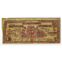 Banco Nacional De La Republica De Colombia, 1899 Banknote.