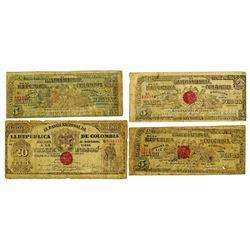 Banco Nacional De La Republica De Colombia, 1899-1900 Banknote Quartet.