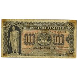 Republica de Colombia, 1904 Issue Banknote.