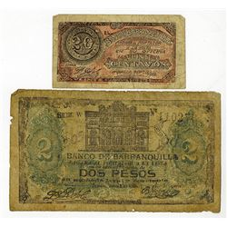 Banco de Barranquilla, 1900 Issue Banknote Pair