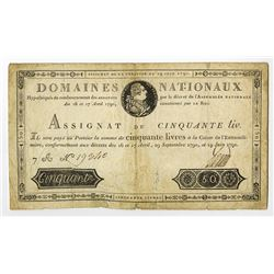 "Assignat, Domaines Nationaux, 1791 ""First"" Issue."