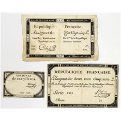 "Republique Francaise, 1793 ""First Issue"" Assignat Trio."