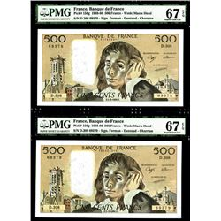 Banque De France, 1990 High Grade Sequential Pair of Banknotes.