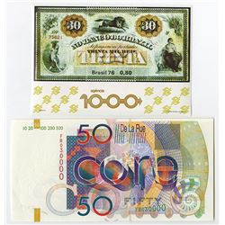 De La Rue 2001 IBNS Sample note and Brazil Souvenir Stamp Sheet.