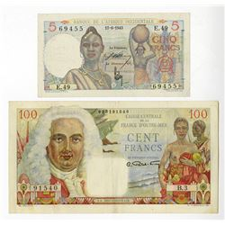 French Africa Banknote Pair, ca.1940's.