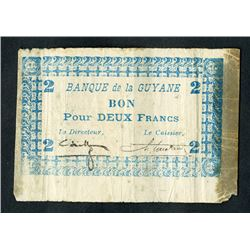 Banque De La Guyane, 1942-45 ND WWII Emergency Issue