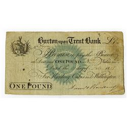 Burton Upon Trent Bank, 1818 Issued Banknote.