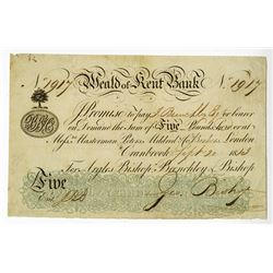Heald of Kent Bank, 1813 Issued Banknote.