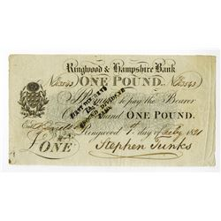 Ringwood & Hampshire Bank, 1821 Issue Banknote.