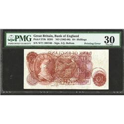 Bank of England, ND (1962-66) Dramatic Printing Error Offset