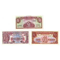 British Armed Forces, ND (1948-62), Trio of 1 Pound Notes