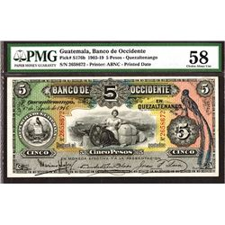 Banco de Occidente en Quezaltenango, 1916 Banknote.