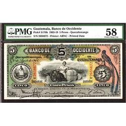 Banco de Occidente en Quezaltenango, 1916 Banknote.