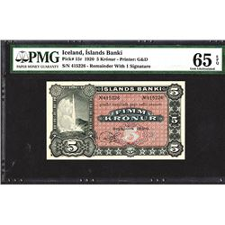 Islands Banki. 1920 Issue Banknote.