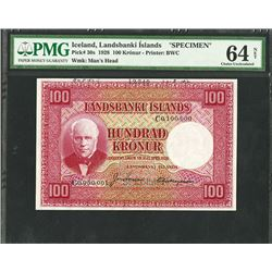 Landsbanki Islands, 1928 Specimen Banknote.