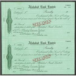 Allahabad Bank Ltd. Uncut First and Second Exchange check form Specimens by Waterlow ca.1900-1920.