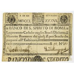 Banco Di S. Spirito Di Roma, 1786 Issue.