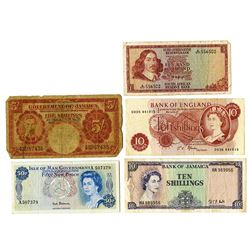 Various British & Related Issuers, 1950s-1960, Quintet of Issued Notes