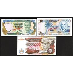 Reserve Bank of Malawi; Banque du Zaire, Bank of Zambia Specimen group.