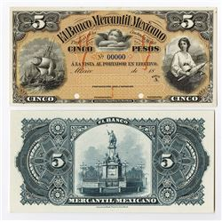 Banco Mercantil Mexicano, ca.1882 Proof Face and back Banknotes.