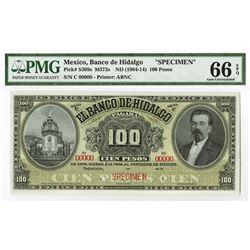 El Banco De Hidalgo, ND (1904-14) Specimen Banknote.