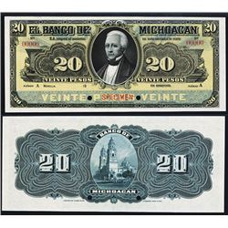 El Banco De Michoacán, 20 Pesos 1903 Issue Specimen.