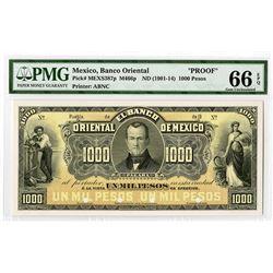 Banco Oriental de Mexico, ND (1901-14), Proof Banknote