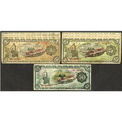 Gobierno Provisional de Mexico. Revalidado Overprint Banknote Assortment.