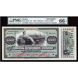 Bono De Caja, El Banco Comercial Refaccionario De Chihuahua Specimen Banknote.
