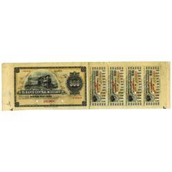 """Bono de Caja. El Banco Central Mexicano, 1899, Specimen """"Circulating Bond"""" Issue."""