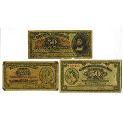 Republica de Nicaragua. National Bank of Nicaragua Banknote Trio.