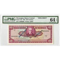 Banco Central de Nicaragua, 1962, Specimen Banknote.