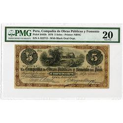 Compania de Obras Publicas y Fomento, 1876, Issued Note