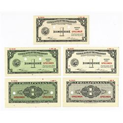 Central Bank of the Philippines, 1949 (1951) Essay Specimen Banknote Quintet.