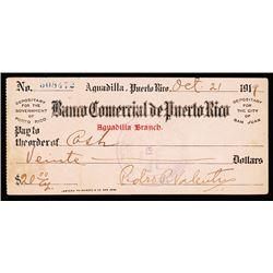 Banco Comercial De Puerto Rico, 1919 Issued Check.