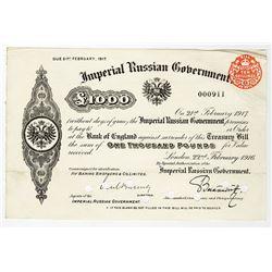 Imperial Russian Government 1916 Treasury Bill.