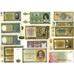 Republic of Slovakia, 1939-44, Lot of 14 Issued & Specimen Notes