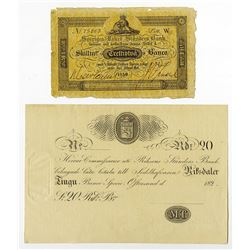 Sveriges Rikes Standers Bank, 1850 Issue banknote and ca.1820's Private Banknote.