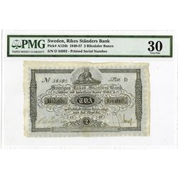 Rikes Ständers Bank, 1857, Issued Note