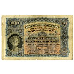 Schweizerische Nationalbank, 1923 Issue Banknote.