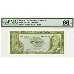 Government of Tonga, 1967 Issue Note.