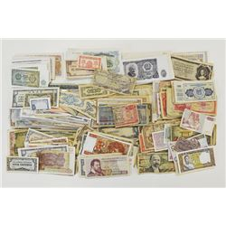 Worldwide Banknote Melange, over 500 notes including 350 CU TO Gem UNC. 1951 Bulgaria notes.