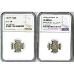 United States: Philadelphia Mint, Pair of Half Dimes,