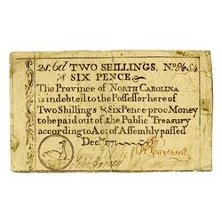 North Carolina, 1771, Colonial Note