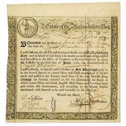 State of the Massachusetts Bay - (Act of May 2, 1777), 6% Treasury Loan Certificate, due June 1, 178